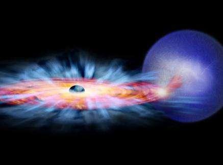 Vue d'artiste du trou noir GRO J1655-40, de son disque d'accrétion et de son étoile compagnon (Crédits : NASA/CXC/M.Weiss )