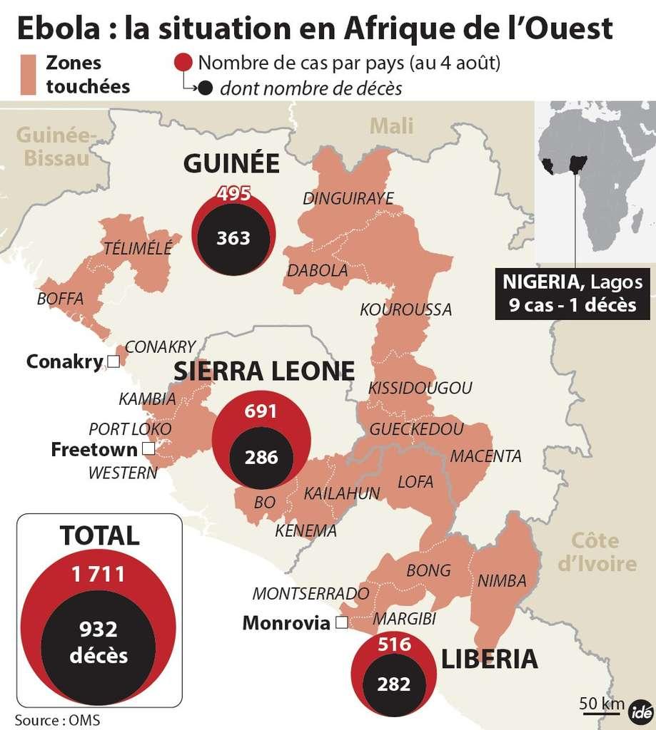 Le bilan de l'épidémie de fièvre hémorragique Ébola établi par l'OMS au 4 août 2014. Plus de 1.700 cas ont été recensés en Afrique, avec plus de 900 décès. La Sierra Leone est désormais le pays le plus touché. © Idé