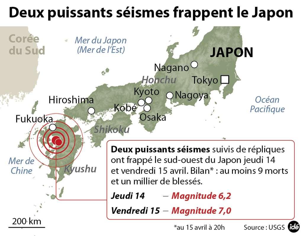 Au sud du Japon, l'île de Kyushu a été frappée deux fois de suite par de puissants séismes. La région se situe sur une petite plaque insérée entre trois autres et subit des contraintes mécaniques internes. © idé