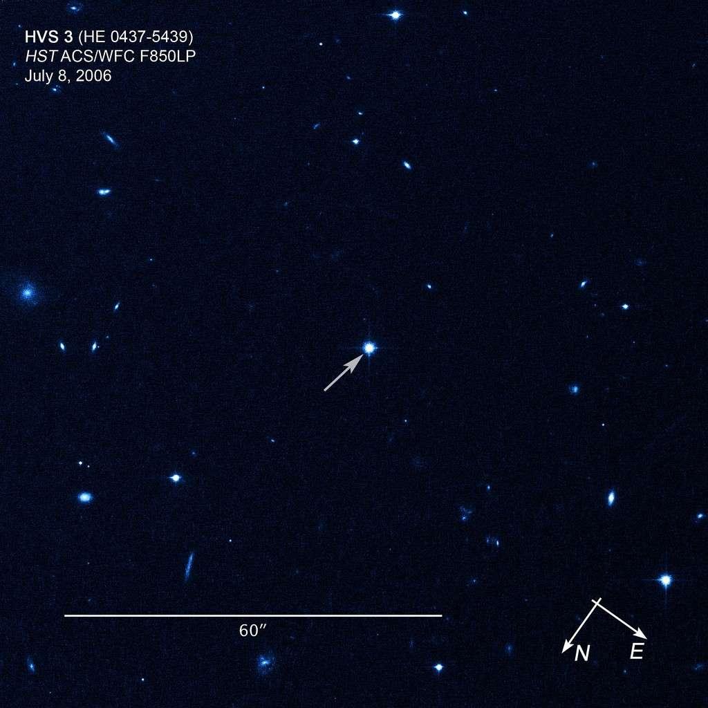 L'étoile hyper-véloce HE 0437-5439 photographiée par le télescope spatial Hubble. Crédit Nasa/Esa/O. Gnedin/W. Brown