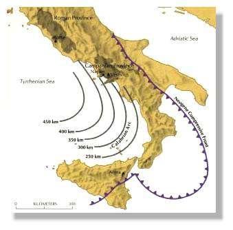 Plongement de la plaque africaine sous la plaque eurasienne. Les courbes donnent la profondeur des séismes en km. Schema Sigurdsson et al, 1985