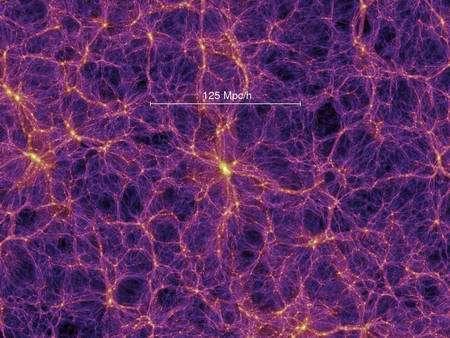 Cliquez pour agrandir. Une simulation des amas de galaxies rassemblés dans des filaments. Crédit : Springel et al., Virgo Consortium