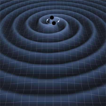 Les collisions entre astres compacts, comme ici deux trous noirs, sont en mesure de créer un fond gravitationnel stochastique, mais il est plus proprement dit astrophysique que cosmologique et ce n'est pas sur lui que porte la publication de Nature. Crédit : Nasa-JPL