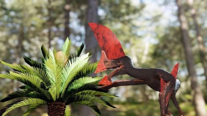 Vue d'artiste de Tupandactylus navigans illustrant notamment ses crêtes au niveau de la tête. © Victor Beccari