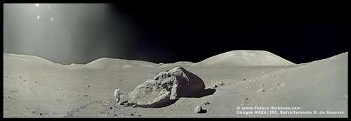 Paysage lunaire. © Images Nasa/JSC, retraitements O. de Goursac - Tous droits réservés