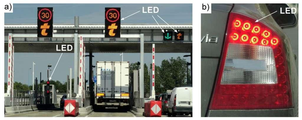 Détail de l'éclairage de signalisation routière et de feux arrière de véhicule. Pour ces applications, une grande intensité lumineuse est requise, afin que les objets soient visibles de jour comme de nuit. © Led Engineering Development