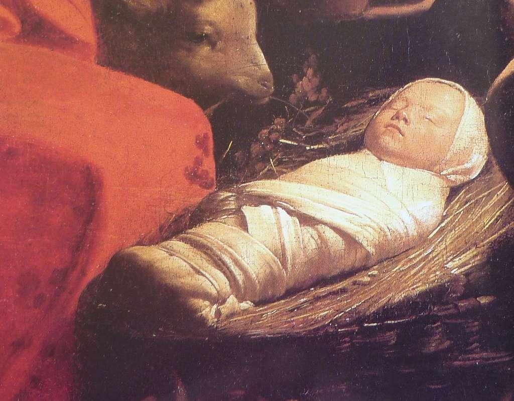 Bébé emmailloté, détail du tableau L'adoration des bergers par Georges de La Tour vers 1645. Musée du Louvre. © Wikimedia Commons, domaine public