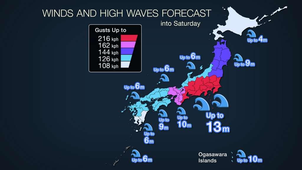 Les prévisions de vitesses des vents en km/h et de hauteur de vagues. © Agence météorologique japonaise