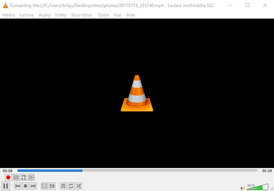 Vous n'avez plus qu'à attendre que la conversion de votre vidéo soit finie ! © VideoLAN Organization