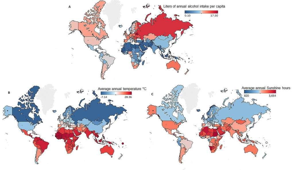 Sur cette carte, la consommation d'alcool en nombre de litres par habitant et par an (A), les moyennes de températures (B) et l'ensoleillement (C). © Université de Pittsburgh