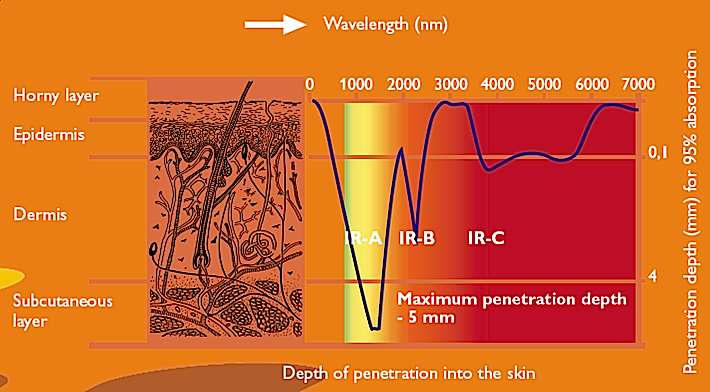 Schéma de mesure de la pénétration cutanée en nanomètres (nm) (Depth of penetration into the skin, en anglais sur le schéma). Le niveau de pénétration cutané maximum est de 5 mm (Maximum penetration depth - 5 mm). On distingue les IRA, les IRB et les IRC, qui ne pénètrent pas la peau de la même manière : c'est dans la plage des ondes courtes à moyennes (IRA et IRB) que l'infrarouge pénètre le plus profondément l'épiderme. © sauna-infrarouge.be