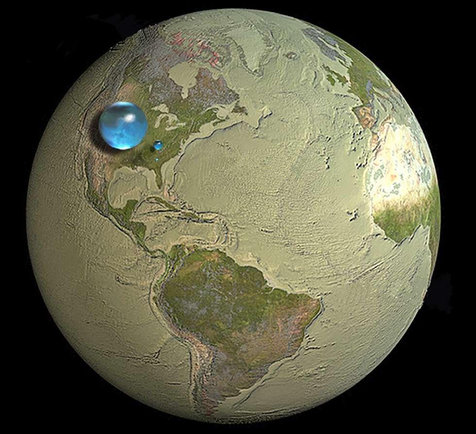 La plus grande sphère, de 1.400 km de diamètre, concentre toute l'eau terrestre (salée et douce). La petite sphère (272,8 km de diamètre) à droite représente le volume total d'eau douce. Et enfin, la plus petite sphère (56,2 km de diamètre), concentre toute l'eau douce terrestre disponible pour la consommation (lac, rivière, une partie des nappes phréatiques). © Howard Perlman, USGS, Jack Cook, Woods Hole Oceanographic Institution, Adam Nieman