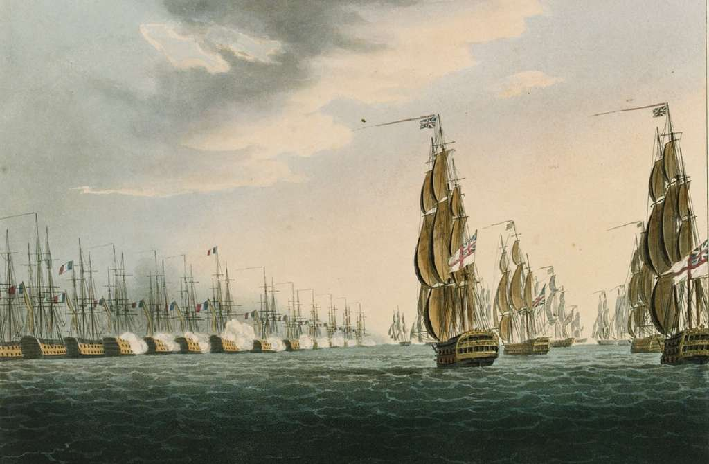 """""""Bataille du Nil"""" ou bataille navale d'Aboukir, 01/08/1798, par Thomas Whitcombe en 1817. National Maritime Museum, Greenwich, Londres. © Wikimedia Commons, domaine public."""