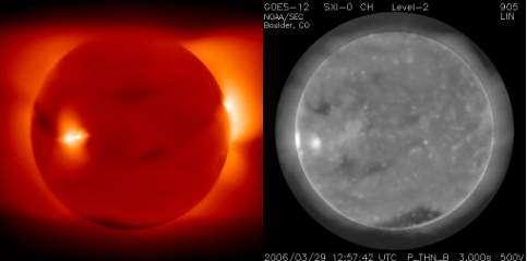 Comparaison des émission de rayons X du Soleil le 29 mars 2006 prévues par le modèle (à gauche) et des émissions mesurées par le Solar X-ray Imager (SXI) du satellite GOES (à droite) (Crédits : NSF/NASA/National Geographic)