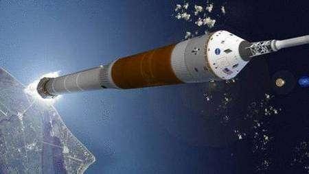 Lancement d'un CEV (Crew Exploration Vehicle), lui aussi élaboré sur le modèle d'Apollo (vue d'artiste). Crédit NASA.
