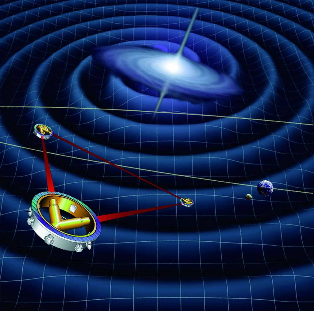 Les trois satellites du projet eLisa seront lancés en 2034, si la démonstration de Lisa Pathfinder réussit. © Esa