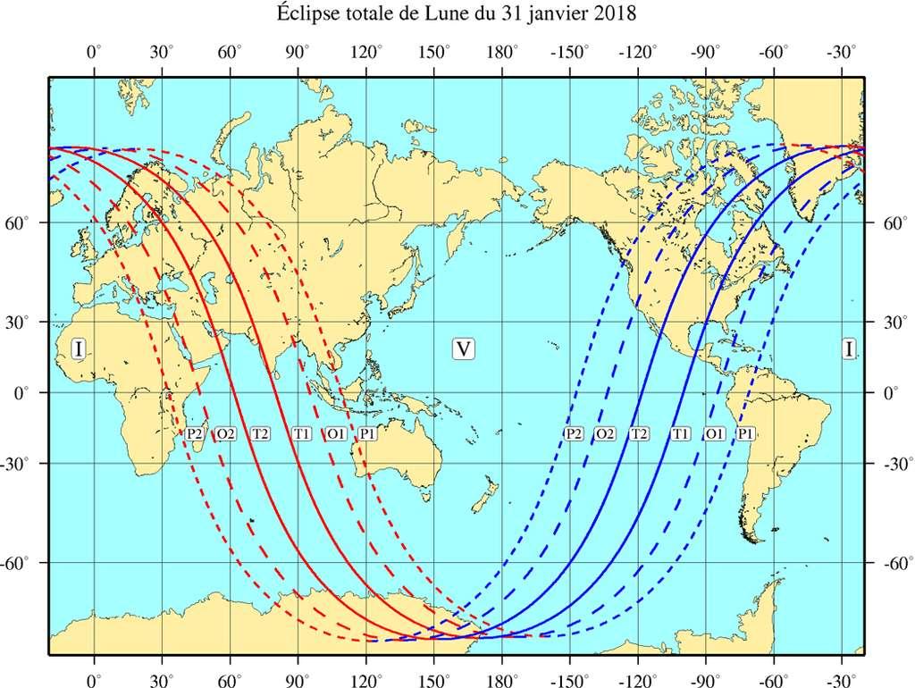 Carte de visibilité de l'éclipse de Lune du 31 janvier 2018. © Patrick Tocher, IMCCE