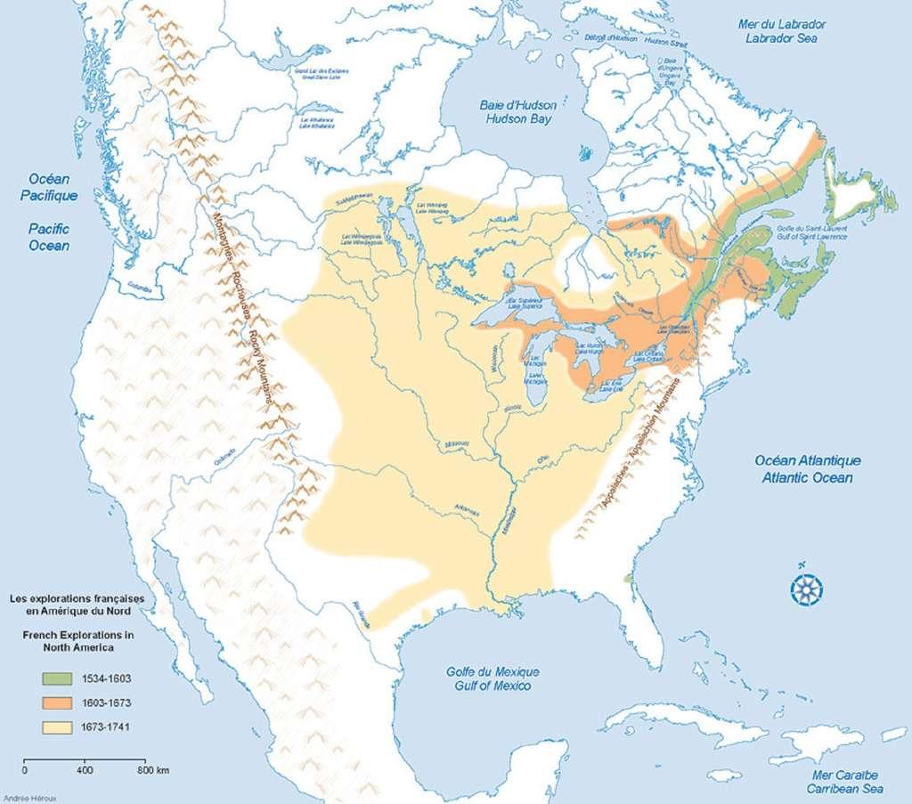 Carte des explorations françaises en Amérique du Nord entre le XVIe et XVIIIe siècle. © Musée canadien de l'histoire ; musée virtuel de la Nouvelle-France.