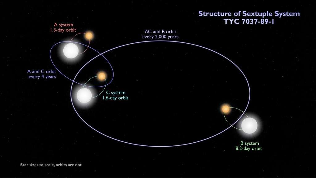 Schéma (pas à l'échelle) du système TYC 7037-89-1. © Nasa's Goddard Space Flight Center