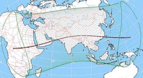 L'éclipse solaire sera visible en Centre Afrique et en Asie. © Réalisé avec WinEclipse v3.5 de Heinz Scsibrany