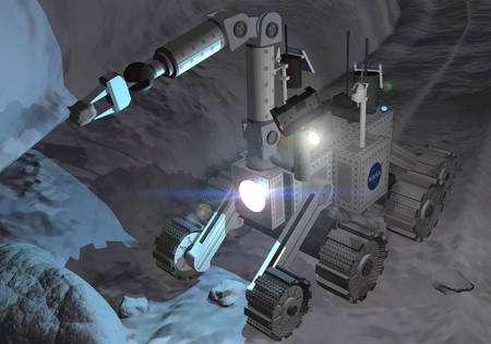 Les missions de retour d'échantillons martiens ou lunaires nécessiteront des bras robotiques capables de sélectionner un échantillon parmi d'autres, de le ramasser et de le transporter sur plusieurs mètres avant de le déposer dans le conteneur qui retournera sur Terre. À l'image, un concept de rover lunaire de la Nasa. © Nasa