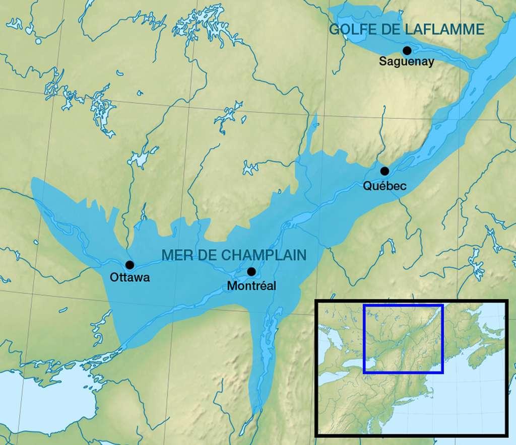 La mer de Champlain est une mer disparue qui couvrait les basses-terres du Saint-Laurent juste après la dernière glaciation. © Orbitale, cc by sa 3.0