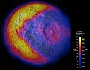 La carte thermique de Mimas (cliquer sur l'image pour une vue complète). La couleur jaune correspond aux températures les plus élevées, de l'ordre de -180°C, et le bleu à environ -200°C. Curieusement, on remarque une zone chaude en forme de croissant sur le côté gauche, alors que la lumière solaire arrive à l'aplomb du centre de l'image. D'autres inégalités thermiques inexpliquées sont également visibles, au niveau du cratère Herschel en particulier. Crédit Nasa