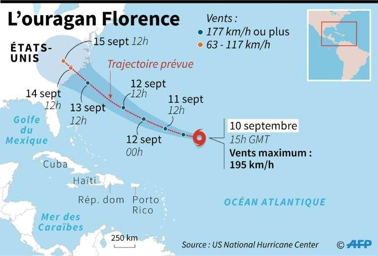 La course prévue de Florence entre le 10 et le 15 septembre 2018. © AFP