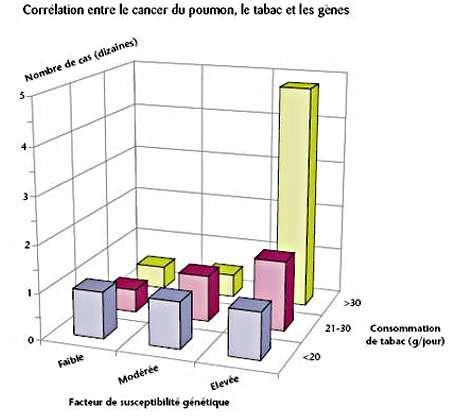 Graphique présentant la corrélation entre le cancer du poumon, la consommation de tabac et les facteurs génétiques. © S. Benamov, Inserm