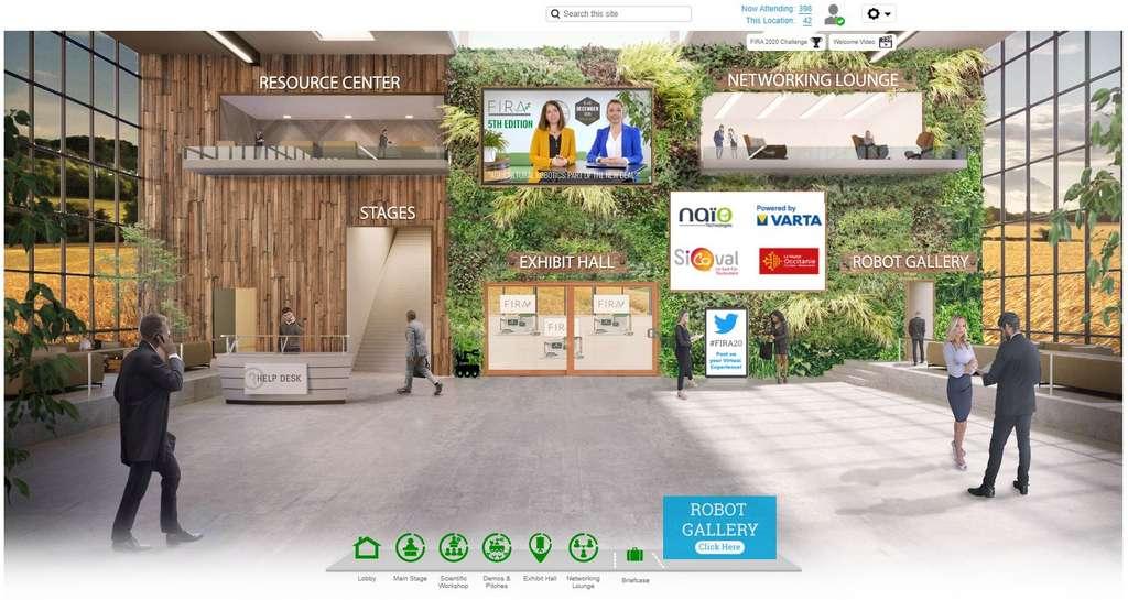 L'accueil du salon virtuel Fira 2020 donne accès aux différentes parties de l'événement, que l'on retrouve également sur les raccourcis en bas de l'écran. Plus besoin de courir d'une salle à l'autre ! © Fira 2020
