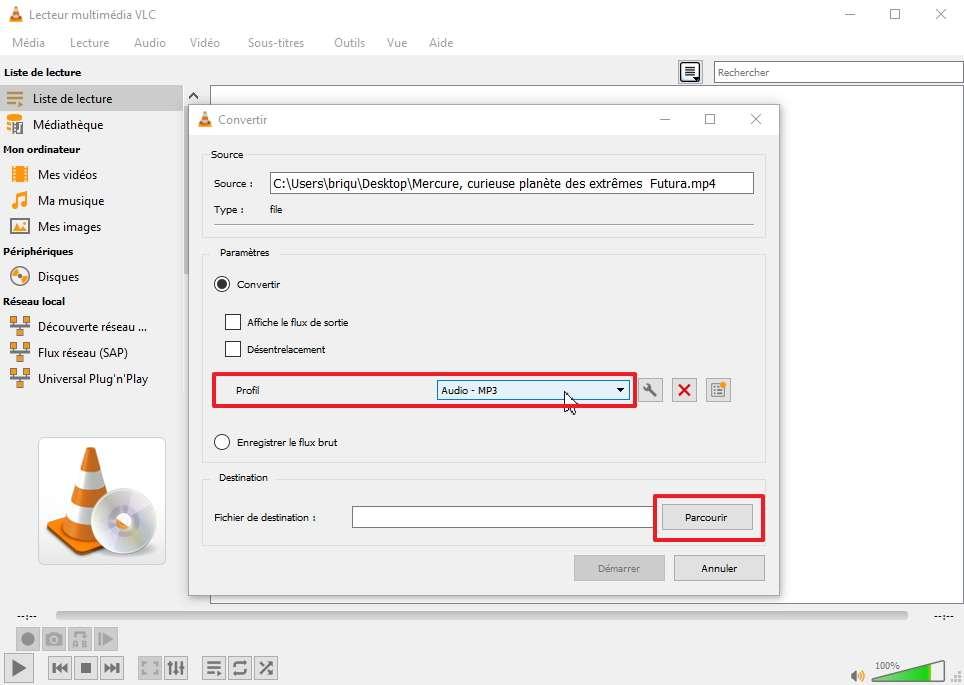 Changez le profil dans les Paramètreset sélectionnez Audio – MP3. © VideoLAN