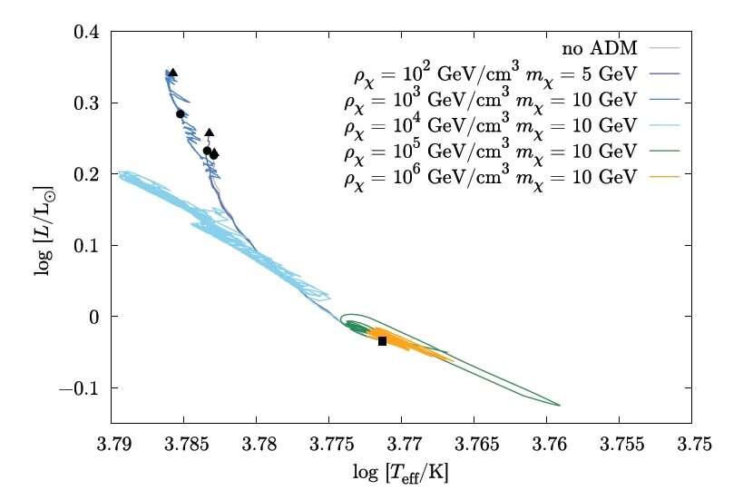 Sur ce diagramme de Hertzsprung-Russell, on voit en ordonnée le logarithme de la luminosité des étoiles rapportée à celle du Soleil et en abscisse le logarithme de la température effective de surface de l'étoile. Selon la masse et la densité (rhô) en haut à droite des particules de matière noire asymétrique, les étoiles de la séquence principale ne se répartissent pas sur les mêmes courbes. © 2012 American Physical Society