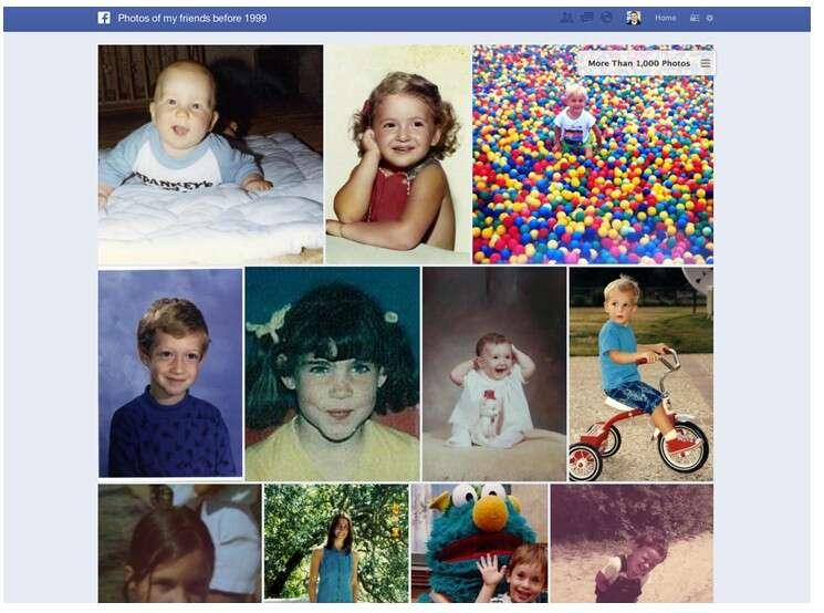 Exemple de résultat obtenu avec la recherche dans le graphe Facebook. Ici, Mark Zuckerberg, le fondateur et patron du réseau social, a tapé la requête « photos de mes amis avant 1999 ». © Facebook