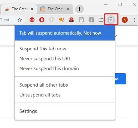 Gérez les suspensions en utilisant le menu après avoir cliqué sur l'icône. © Google Inc.
