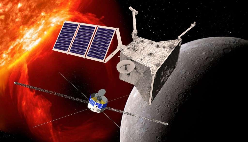 Les deux orbiteurs de la mission BepiColombo de l'Esa, à laquelle participe le Japon. Elle s'installera autour de Mercure en 2024. © Esa