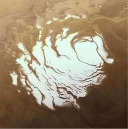 La calotte polaire Sud (crédit: NASA,JPL,MSSS)