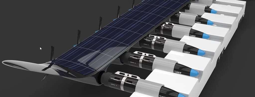 HES Energy Systems imagine un système de ravitaillement automatisé assuré par des nacelles qui pratiqueraient la permutation des piles à combustible en une dizaine de minutes. © HES Energy Systems