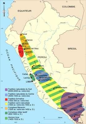 Carte de distribution des différentes traditions de peintures rupestres et principaux sites. © DR
