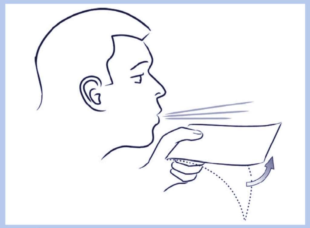 La portance d'une feuille de papier est une expérience très aisée à reproduire. © EDP Sciences