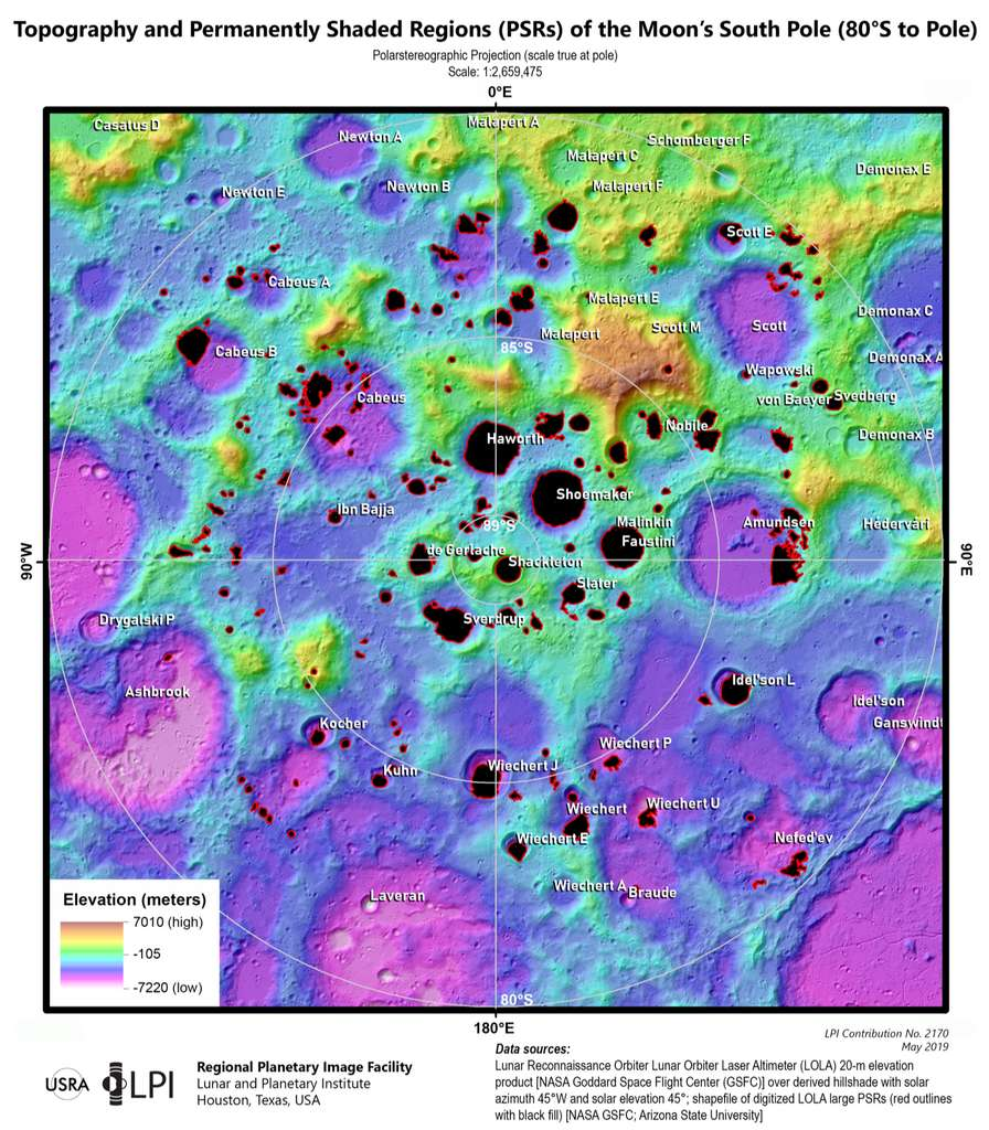 Topographie et régions ombragées en permanence du pôle Sud de la Lune. © Nasa, Lunar and Planetary Institute