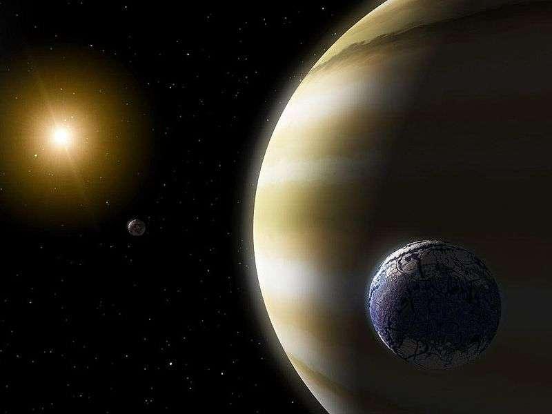 Une vue d'artiste d'une exolune habitable orbitant autour d'une exoplanète géante. Celle qui a peut-être été détectée par les astronomes ne serait en revanche pas éclairée par la lumière d'un soleil. Elle orbiterait autour d'une exoplanète nomade. © Nasa