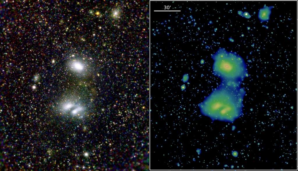 Cette image du système en interaction d'amas de galaxies A3391/3395 est le résultat d'une combinaison d'images prises par les sept modules du télescope spatial eRosita entre le 17 et le 18 octobre 2019. Dans l'image de gauche, les couleurs rouge, verte et bleue font référence aux trois bandes d'énergie différentes d'eRosita. On voit clairement les deux groupes comme des structures nébuleuses, qui brillent fortement dans les rayons X en raison de la présence de gaz extrêmement chaud – des dizaines de millions de degrés – dans l'espace entre les galaxies. L'image de droite met en évidence un « pont » entre les deux groupes, confirmant le soupçon que ces deux grandes structures interagissent de manière dynamique. © T. Reiprich (Univ. Bonn), M. Ramos-Ceja (MPE), F. Pacaud (Univ. Bonn), D. Eckert (Univ. Geneva), J. Sanders (MPE), N. Ota (Univ. Bonn), E. Bulbul (MPE), V. Ghirardini (MPE), MPE/IKI