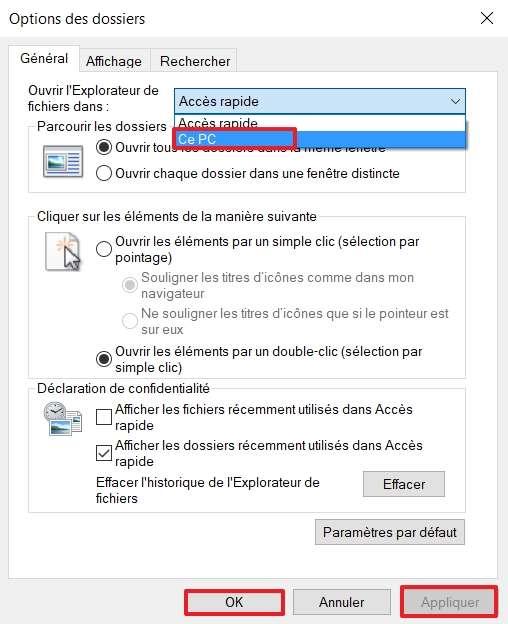 Ouvrez l'Explorateur de fichiers sur « Ce PC » au lieu de l'Accès rapide. © Microsoft