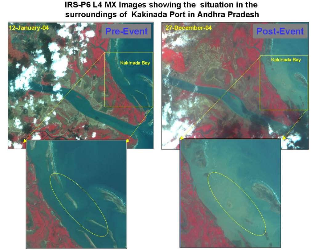 Environs du Port de Kakinada : avant et après