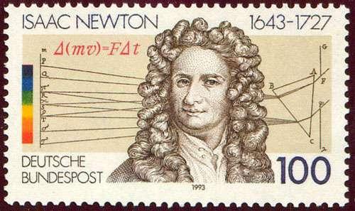 Hommage philatélique à Isaac Newton, entouré de deux de ses découvertes.