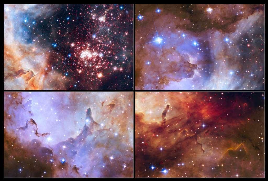 L'amas Westerlund 2 regroupe environ 3.000 étoiles âgées en moyenne de seulement 2 millions d'années. En haut à droite et en bas, gros plans sur quelques piliers de gaz de cette région, située à 20.000 années-lumière de nous et où bourgeonnent d'autres étoiles. © Nasa, Esa, the Hubble Heritage Team (STScI/AURA), A. Nota (ESA/STScI), the Westerlund 2 Science Team