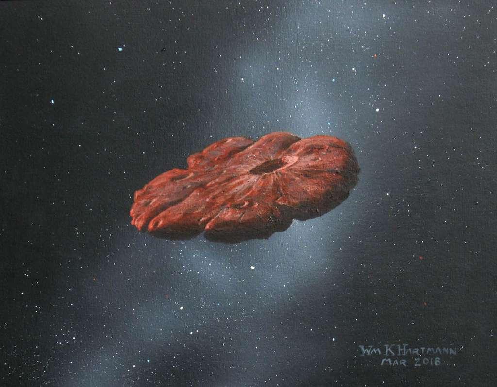 Vue d'artiste d'un 'Oumuamua en forme de « crêpe », qui permet également de reproduire les oscillations de luminosité observées. © William K. Hartmann