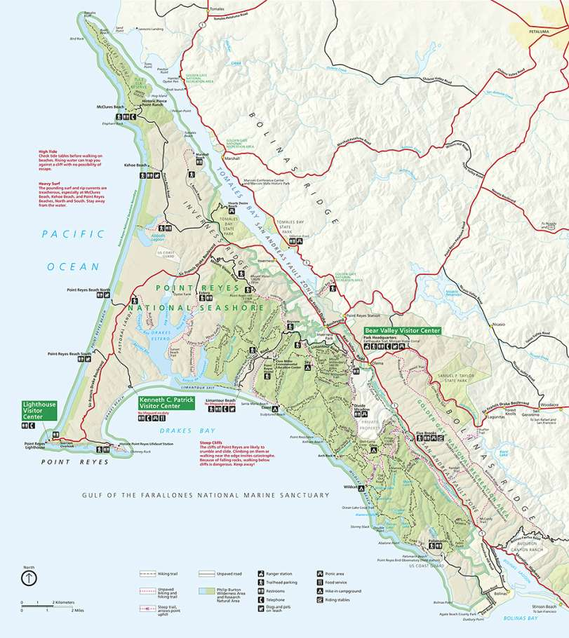 Carte de Point Reyes National Seashore. © Domaine public