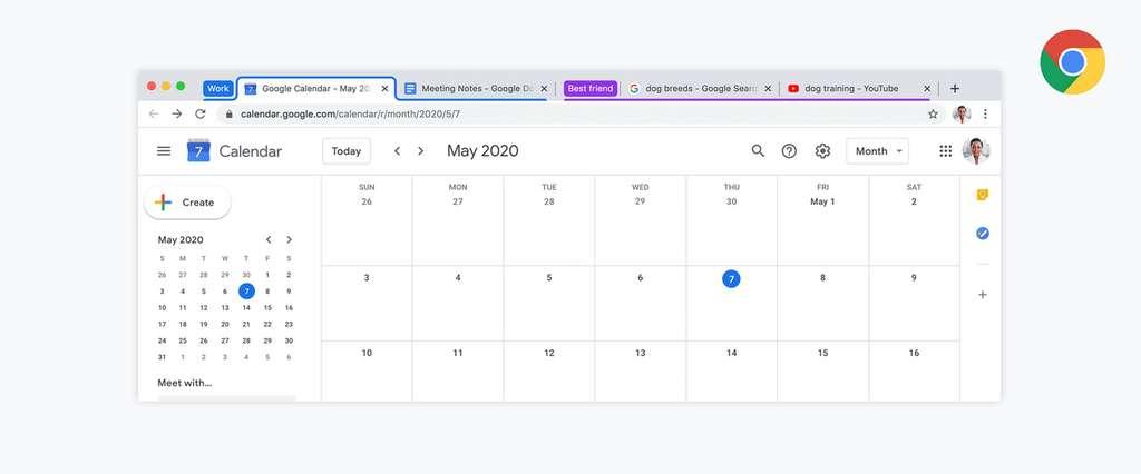 Dans l'onglet Travail, on peut placer le calendrier, le traitement, le tableur... © Google