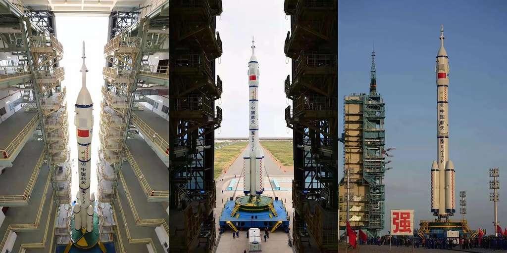 Le lanceur Long March 2F utilisé pour envoyer le véhicule Shenzhou 12 et son équipage de 3 taïkonautes. © China Aerospace Science and Technology Corporation (CASC)
